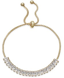 INC Gold-Tone Baguette Crystal Slider Bracelet, Created for Macy's