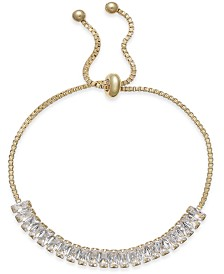 I.N.C. Gold-Tone Baguette Crystal Slider Bracelet, Created for Macy's