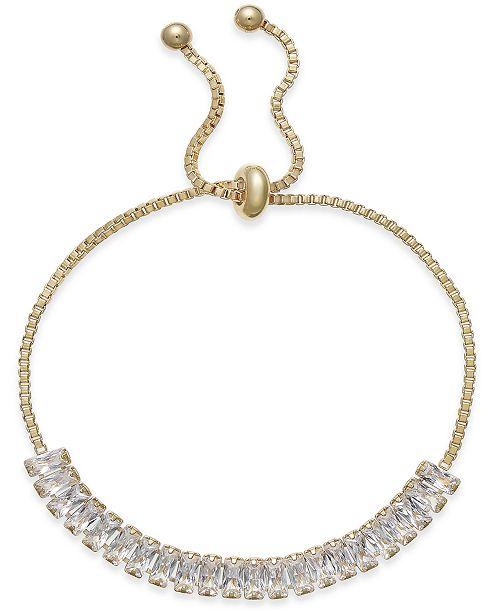 INC International Concepts INC Gold-Tone Baguette Crystal Slider Bracelet, Created for Macy's
