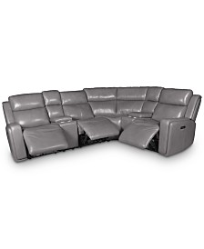 Saran 6-Pc. Leather Sectional Sofa with 3 Power Recliners, 2 Consoles & USB Port