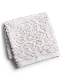 "CLOSEOUT! Rosa Floral Medallion Sculpted Cotton 13"" x 13"" Washcloth, Created for Macy's"