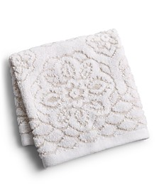 """CLOSEOUT! Martex Rosa Floral Medallion Sculpted Cotton 13"""" x 13"""" Washcloth, Created for Macy's"""