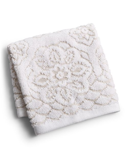 """Martex  CLOSEOUT! Rosa Floral Medallion Sculpted Cotton 13"""" x 13"""" Washcloth, Created for Macy's"""