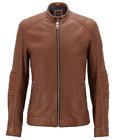 BOSS Men's Slim-Fit Leather Biker Jacket