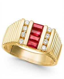Men's Ruby (3/4 ct. t.w.) & Diamond (3/8 ct. t.w.) Ring in 14k Gold