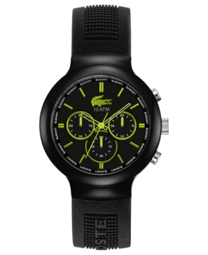 Lacoste L!Ve Watch, Men's Chronograph Borneo Black Silicone Strap 44mm 2010650