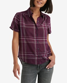 Lucky Brand Windowpane Plaid Button-Down Top