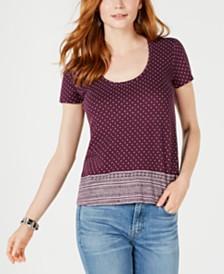 Lucky Brand Cotton Border-Print Scoop-Neck T-Shirt