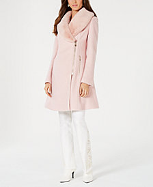 INC Faux-Fur-Trim Asymmetrical Walker Coat, Created for Macy's
