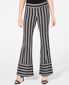 BCX Juniors' Striped Wide-Leg Pants