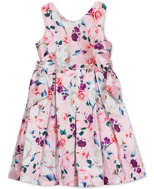 Rare Editions Toddler Girls Floral-Print Pleated Dress