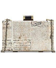 Alora Newspaper Print Clutch