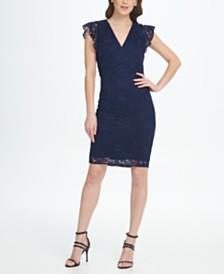 DKNY V-Neck Ruffle Cap Sleeve Lace Sheath Dress