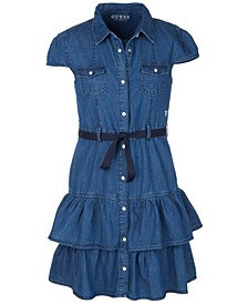Big Girls Denim Ruffle Dress