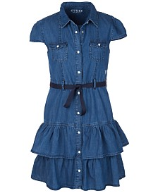 GUESS Big Girls Denim Ruffle Dress