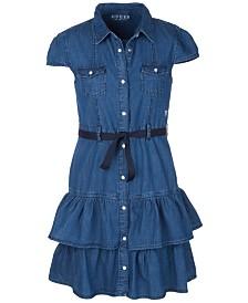 GUESS Big Girls Denim Ruffle Dress