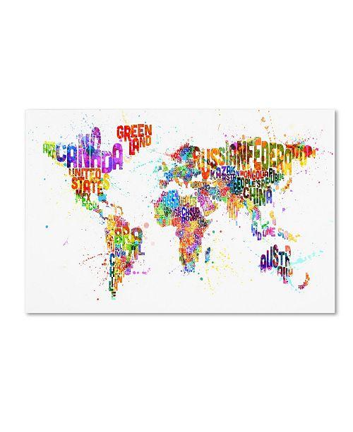 "Trademark Global Michael Tompsett 'Text Map of the World III' Canvas Art - 14"" x 19"""