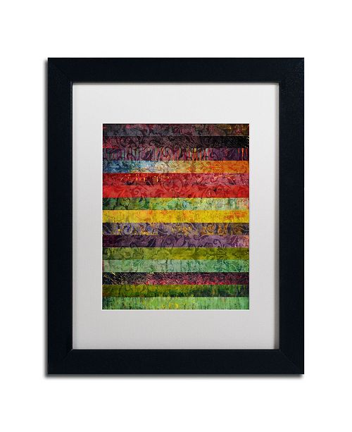 "Trademark Global Michelle Calkins 'Brocade and Stripes 3' Matted Framed Art - 14"" x 11"""