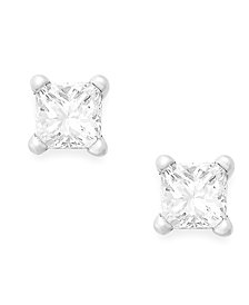Princess-Cut Diamond Stud Earrings in 10k White Gold (1/10 ct. t.w.)