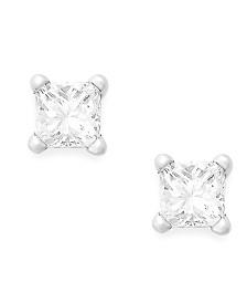 Princess-Cut Diamond Stud Earrings in 10k White Gold (1/10 ct. t.w.)