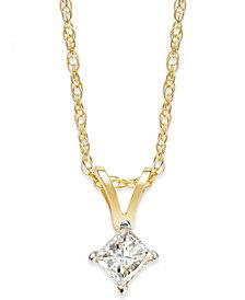 Princess-Cut Diamond Pendant Necklace in 10k Gold (1/5 ct. t.w.)