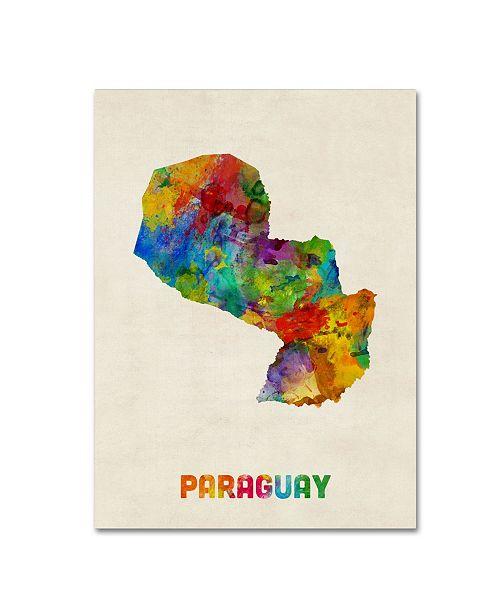 "Trademark Global Michael Tompsett 'Paraguay Watercolor Map' Canvas Art - 14"" x 19"""