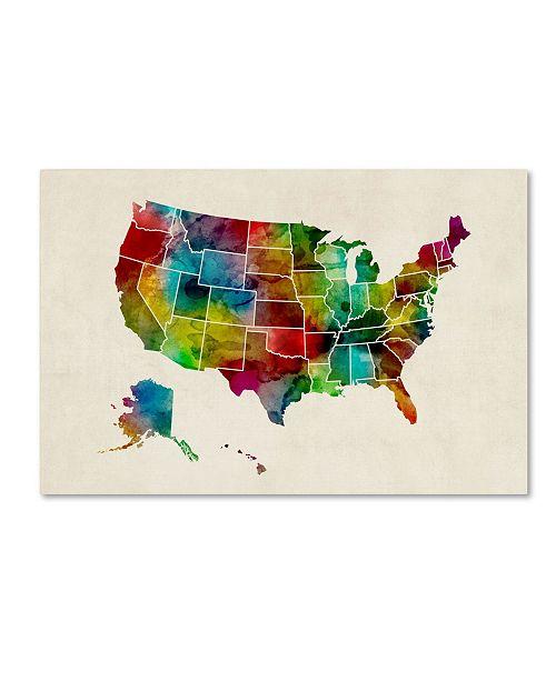 "Trademark Global Michael Tompsett 'United States Watercolor Map 2' Canvas Art - 12"" x 19"""