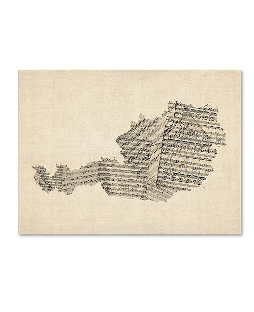 """Trademark Global Michael Tompsett 'Old Sheet Music Map of Austria' Canvas Art - 14"""" x 19"""""""