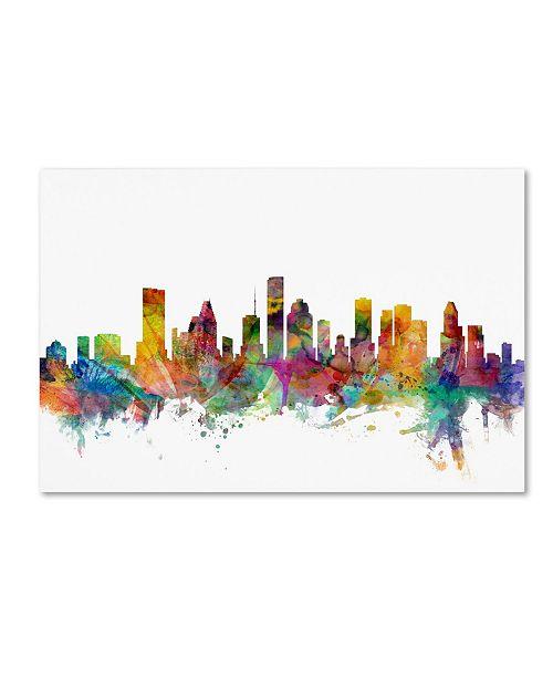 "Trademark Global Michael Tompsett 'Houston Texas Skyline' Canvas Art - 12"" x 19"""