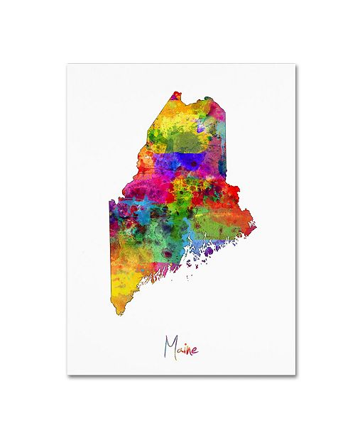 "Trademark Global Michael Tompsett 'Maine Map' Canvas Art - 14"" x 19"""