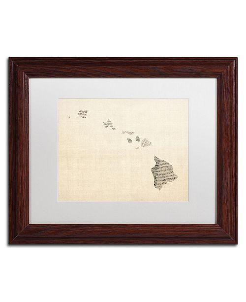 """Trademark Global Michael Tompsett 'Old Sheet Music Map of Hawaii' Matted Framed Art - 11"""" x 14"""""""