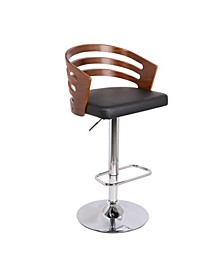 Modern Wood Back Adjustable Swivel Bar Stool with Cushion