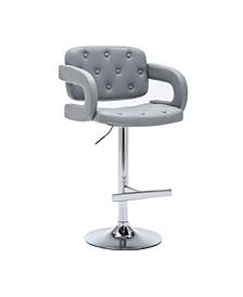 Modern Leather Adjustable Button-Tufted Upholstered Barstool