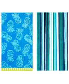 Tommy Bahama Pineapple Passion/Canvas Stripe Gulf Shore 2-Pc. Beach Towel Set