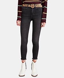 Frayed-Hem Skinny Ankle Jeans