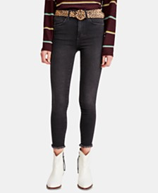 Free People Frayed-Hem Skinny Ankle Jeans
