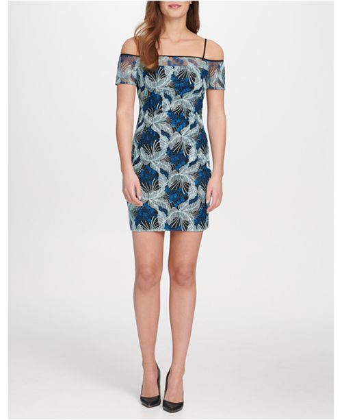 GUESS Cold-Shoulder Embroidered Lace Sheath Dress