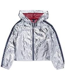 Big Girls Hooded Metallic Jacket