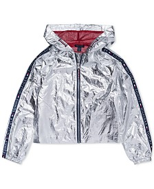 Tommy Hilfiger Big Girls Hooded Metallic Jacket