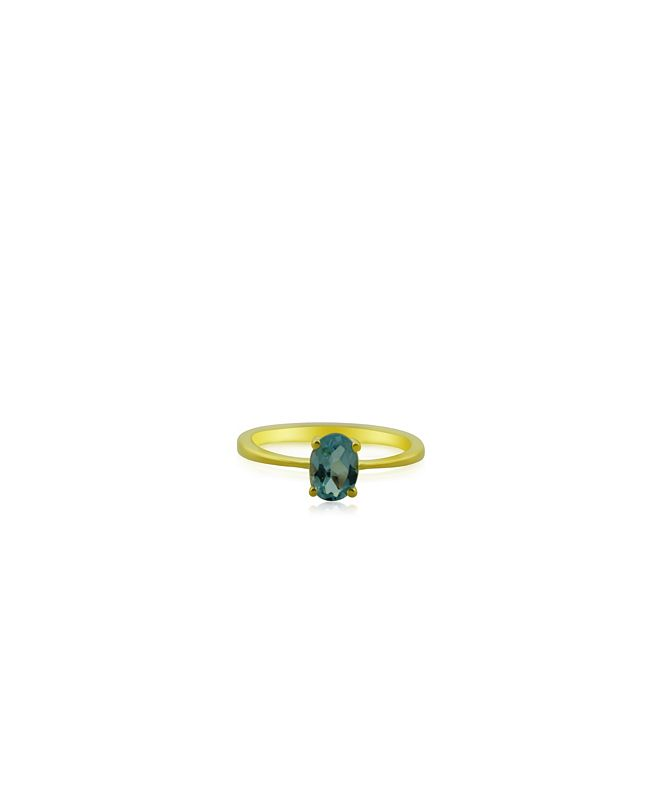Macy's Oval Sky Blue Topaz (1 ct. t.w.) Stack Ring Set in Gold Plated Sterling Silver