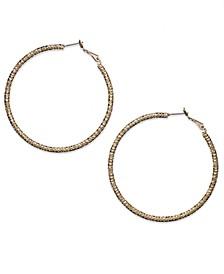 """Gold-Tone Large 2.25"""" Textured Hoop Earrrings"""