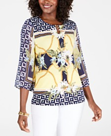 JM Collection Printed Chain-Trim Top, Created for Macy's
