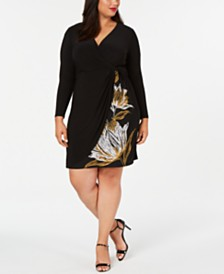 MSK Plus Size Twisted Faux-Wrap Dress