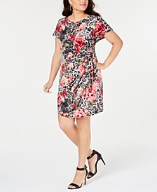 Trendy Plus Size Printed Faux-Wrap Dress