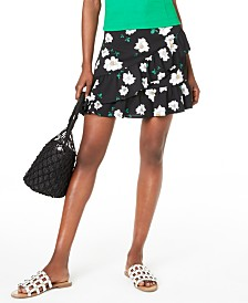 Bar III Ruffled Floral-Print Mini Skirt, Created for Macy's