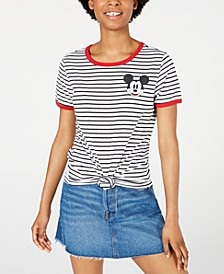 Juniors' Mickey Mouse Striped Graphic Ringer T-Shirt