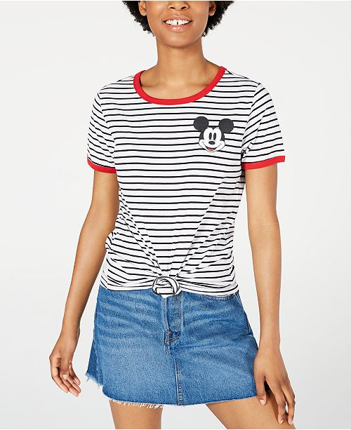 Disney Juniors' Mickey Mouse Striped Graphic Ringer T-Shirt