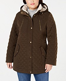 Plus Size Sherpa-Lined Hooded Quilted Jacket