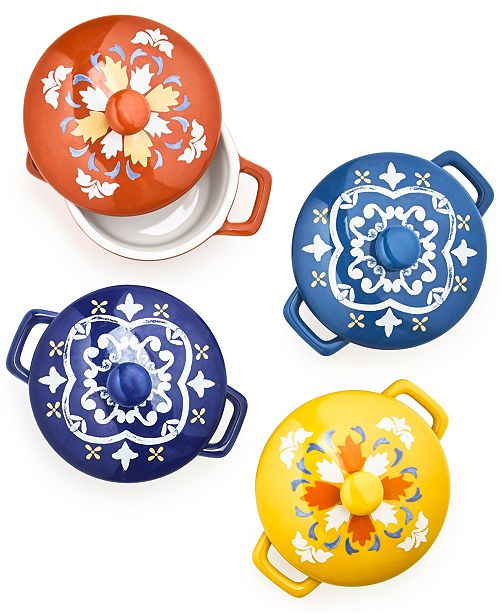 Martha Stewart Collection La Dolce Vita Collection Set of 4 Decorative Ceramic Cocottes, Created for Macy's