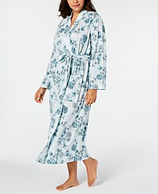 Plus Size Cotton Floral-Print Robe, Created for Macy's